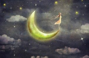 Woman standing on moon dream